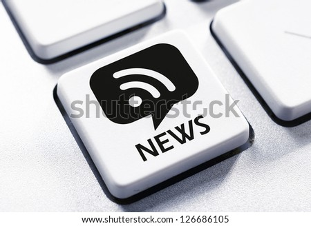 Selective focus on the news button - stock photo