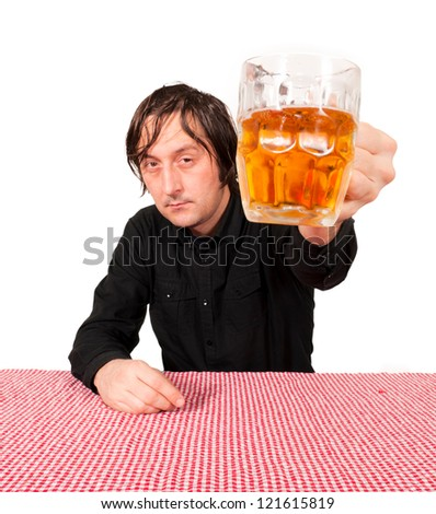 Selective focus on the pint of beer - stock photo