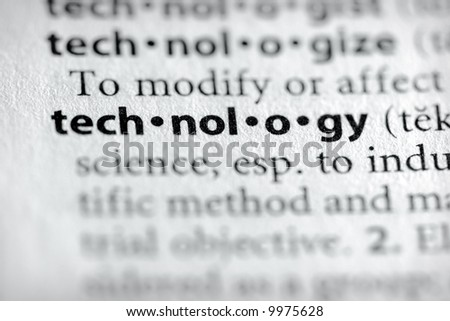 "Selective focus on the word ""technology"". Many more word photos for you in my portfolio... - stock photo"