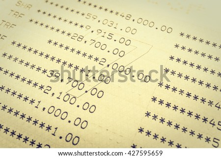 Selective focus point on Book bank statement account - Vintage Filter