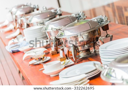Selective focus point on catering buffet food in luxury hotel resort - stock photo