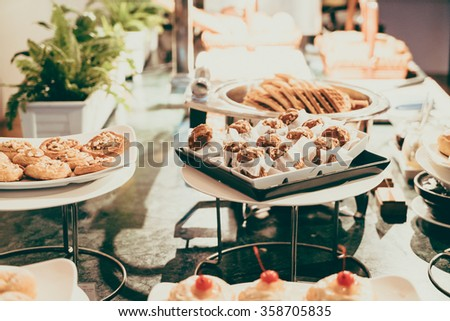 Selective focus point on Catering buffet in hotel restaurant - Vintage filter effect