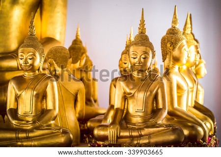 Selective focus point on Face of gold buddha, Buddha statues, Culture Buddhist Thailand, Asia - stock photo