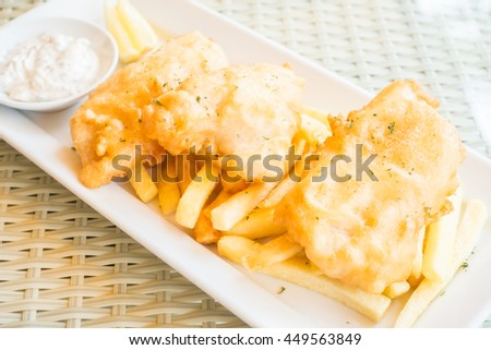 Selective focus point on fish and chips