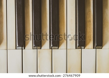 Selective focus point Piano keys - vintage filter - stock photo
