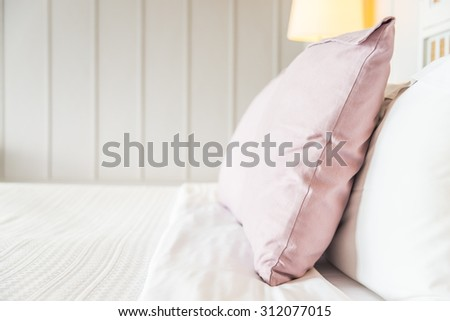 Selective focus point with pillow in bedroom