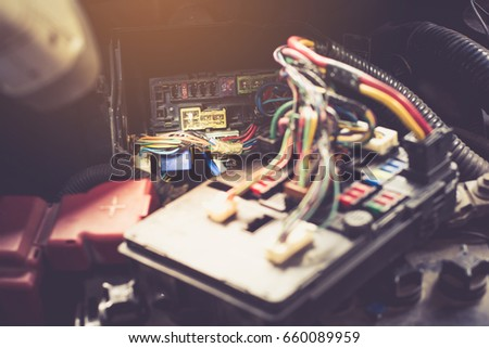stock photo selective focus replacing fuses in the fuse box of the car car repair service station 660089959 car fuse stock images, royalty free images & vectors shutterstock replacing fuses in fuse box at gsmx.co