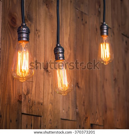 Selective Focus Vintage Lighting With Rustic Wood Background