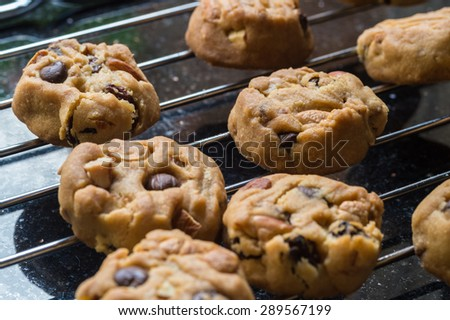 Selective focus with shallow depth of field on home made cookies - stock photo