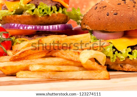 Selective on the french fries - stock photo