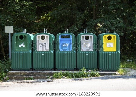 selective waste collection bins - stock photo