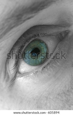 Selectively coloured close-up of a woman's right eye.  The eye is mainly blue, however, it is speckled with other colours as well, giving it a greenish tint.