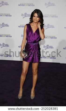 """Selena Gomez at the Los Angeles Premiere of """"Justin Bieber: Never Say Never"""" held at the Nokia Theatre L.A. Live in Los Angeles, California, United States on February 8, 2011.  - stock photo"""