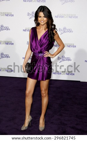 Selena Gomez at the Los Angeles premiere of 'Justin Bieber: Never Say Never' held at the Nokia Theatre L.A. Live in Los Angeles on February 8, 2011.  - stock photo