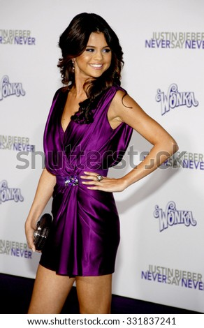 """Selena Gomez at the Los Angeles Premiere of """"Justin Bieber: Never Say Never"""" held at the Nokia Theatre L.A. Live in Los Angeles, USA on February 8, 2011.  - stock photo"""