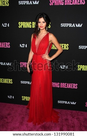 "Selena Gomez at the Los Angeles Premiere of ""Spring Breakers"" Arclight, Hollywood, CA 03-14-13 - stock photo"