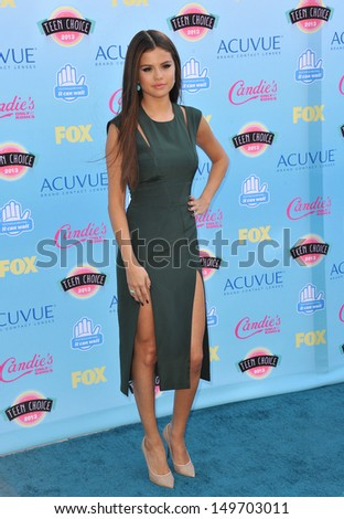 Selena Gomez at the 2013 Teen Choice Awards at the Gibson Amphitheatre, Universal City, Hollywood. August 11, 2013  Los Angeles, CA - stock photo