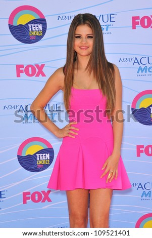 Selena Gomez at the 2012 Teen Choice Awards at the Gibson Amphitheatre, Universal City. July 23, 2012  Los Angeles, CA Picture: Paul Smith / Featureflash - stock photo