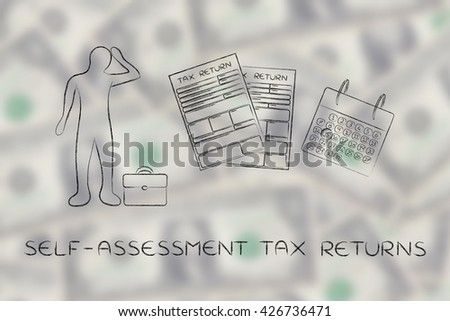 self-assessment tax returns: stressed business man and tax return forms to fill out with calendar - stock photo