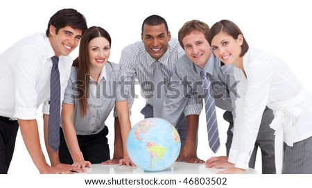 Self-assured business team around a terrestrial globe against a white background - stock photo
