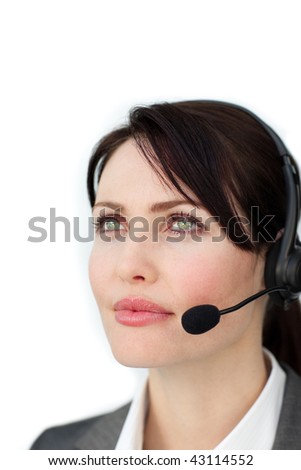 Self-assured businesswoman with headset on isolated on a white background