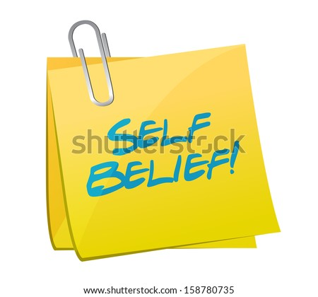 self belief post illustration design over a white background - stock photo