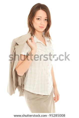 Self-confident businesswoman in suit standing isolated on white - stock photo