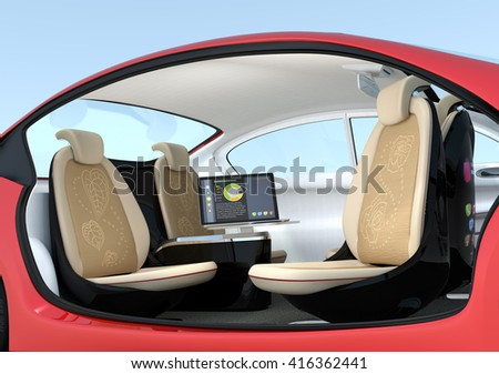 Self-driving car interior concept. Driver seats could turned to rear side, people can have short meeting while they on the way.  3D rendering image with clipping path. - stock photo