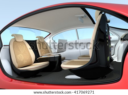 Self-driving car interior concept. Front seats could turn backward. Help to improve communication. 3D rendering image with clipping path. - stock photo