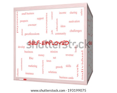 Self-Employed Word Cloud Concept on a 3D cube Whiteboard with great terms such as business, money, owner and more. - stock photo