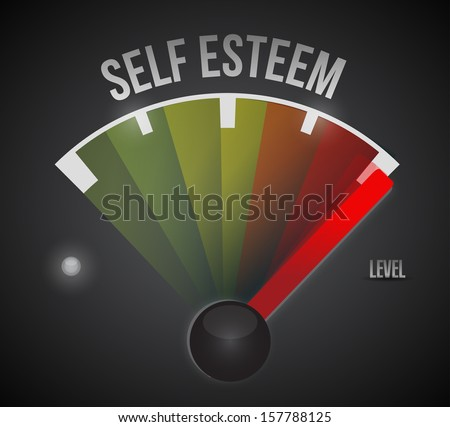 self esteem level measure meter from low to high, concept illustration design - stock photo