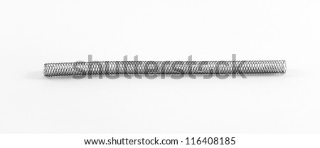 self-expanding braided nitinol stent for endovascular surgery - stock photo