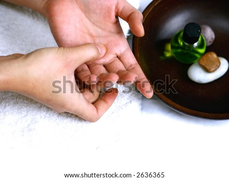 Self hand massage as part of beauty and healthcare treatment.