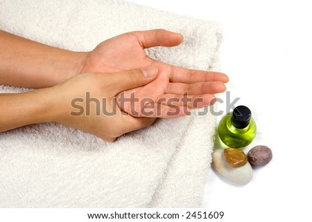 Self hand massage , suitable for personal healthcare and alternative medicine setting, isolated on white with copyspace.