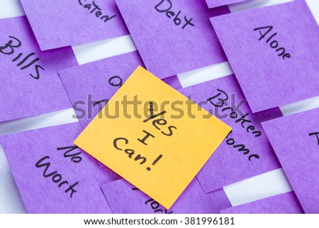 Self help concept image using sticky notes to write lives problems and the solution in a different color rising above the problems - stock photo