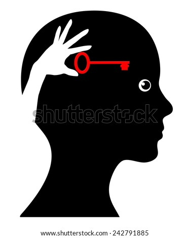 Self Help. Concept sign of woman with self awareness and do it yourself strategy - stock photo