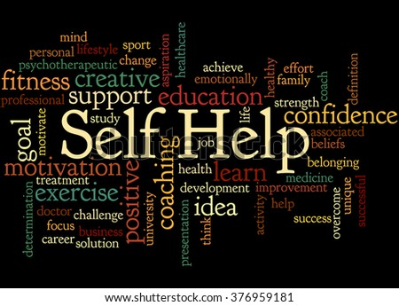 Self Help, word cloud concept on black background.
