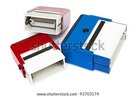 Self-ink rubber stamps - stock photo