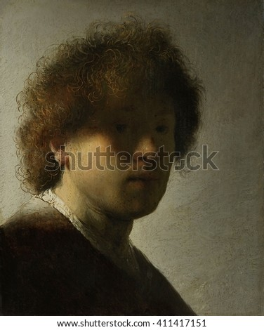 Self-Portrait, by Rembrandt Van Rijn, 1628, Dutch painting, oil on panel. At age 22 Rembrandt painted this self-portrait, gazing out from obscuring shadows. He scratched through the wet paint with hi