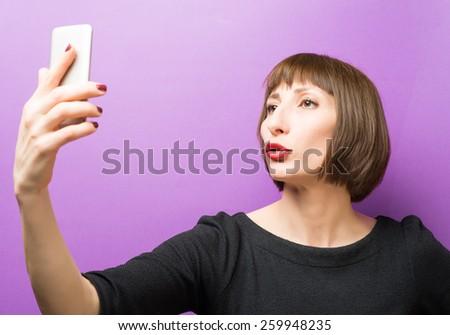 Self portrait of a woman - stock photo