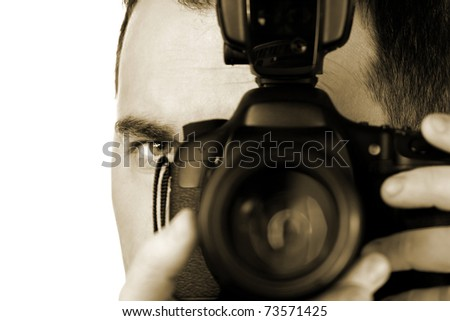 Self portrait of  photographer with the camera - stock photo