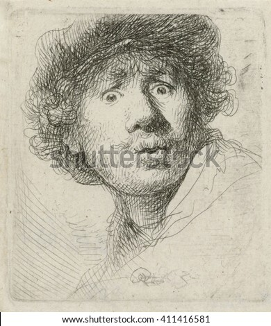 Self-Portrait with Beret, by Rembrandt van Rijn, 1630, Dutch print, etching on paper. Rembrandt was 24 when he created this etching