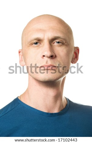 Self-pride man. Portrait from bald man facial expressions series