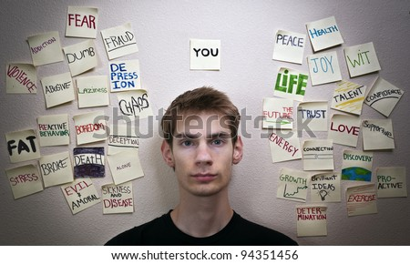 Self reliant independent young adult male is faced with choices that will change and affect his life, and the lives around him in the world. - stock photo
