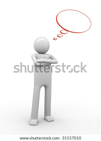 self-relied comix-styled thinking man with a copyspaced balloon to white a text - stock photo
