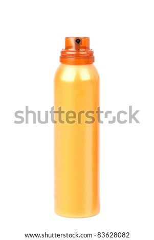 Self tanning spray, isolated on white - stock photo