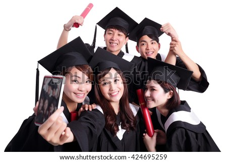 Selfie - group of happy graduates student taking pictures by themselves isolated on white background, asian