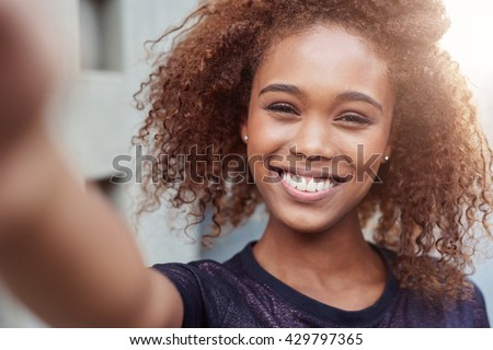 Selfie in the city - stock photo