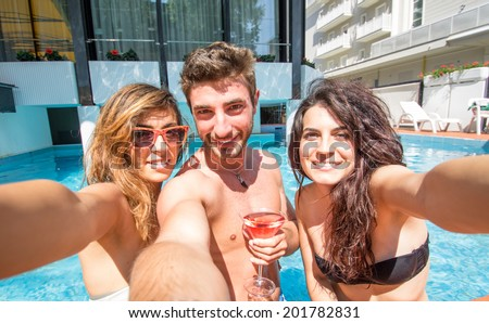 selfie in the swimming pool - stock photo