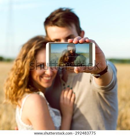 Selfie in Wheat Field - stock photo